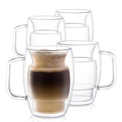 JoyJolt Cadus Glass Coffee Cups Double Wall  - Set of 4 Insulated Mugs Tea Glasses - 16-Ounces