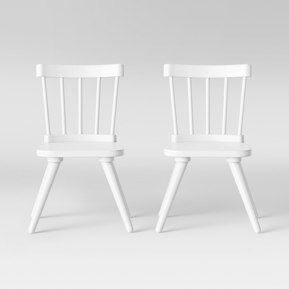 Set of 2 Kids Windsor Wooden Chairs White - Pillowfort