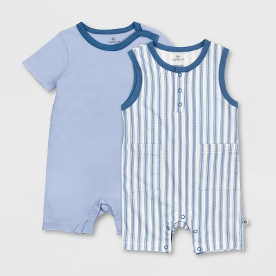 Honest Baby Boys' 2pc Organic Cotton Ticking Striped Short Sleeve and Tank Romper - Blue 3-6M