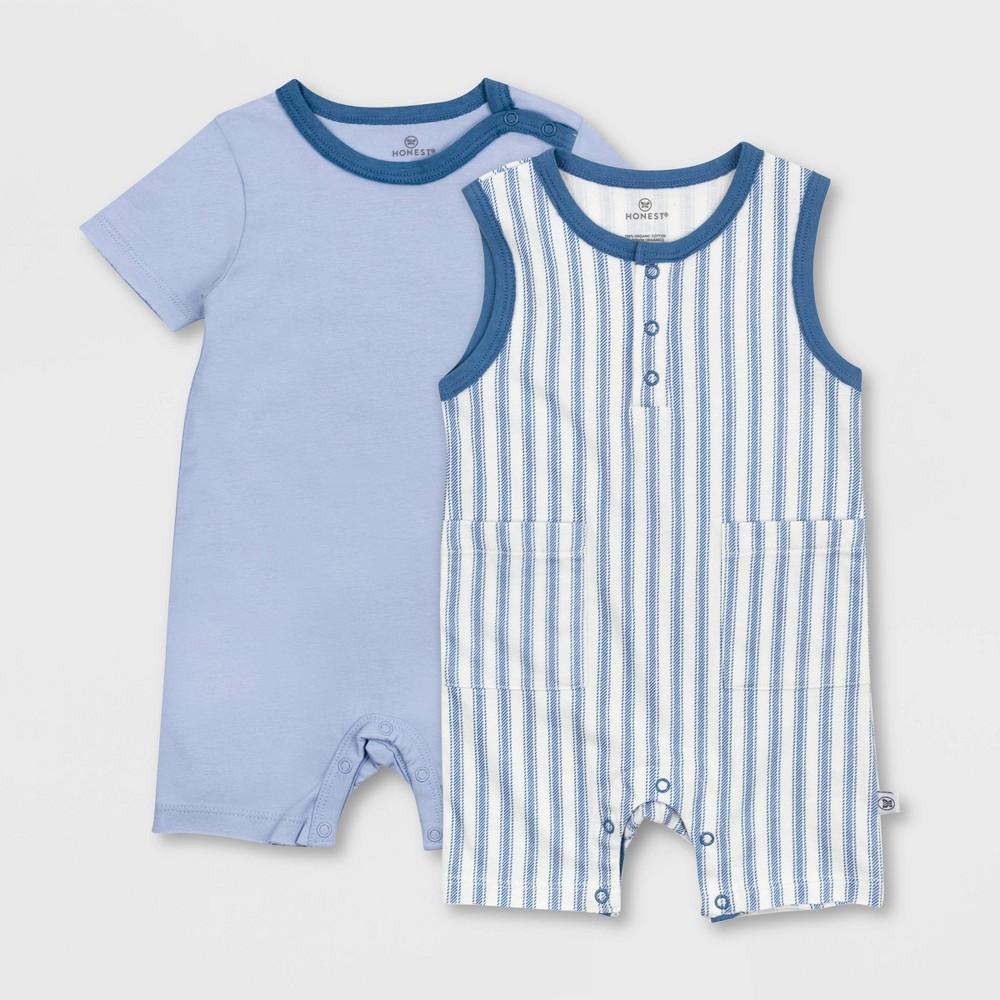 Honest Baby Boys 39 2pc Organic Cotton Ticking Striped Short Sleeve And Tank Romper Blue 24m