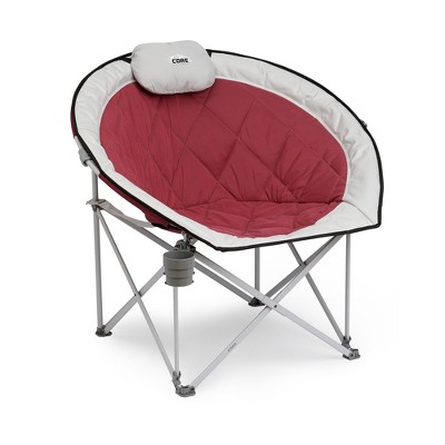 Core Equipment Oversized Padded Round Saucer Moon Outdoor Camping Folding Chair with Headrest, Wine