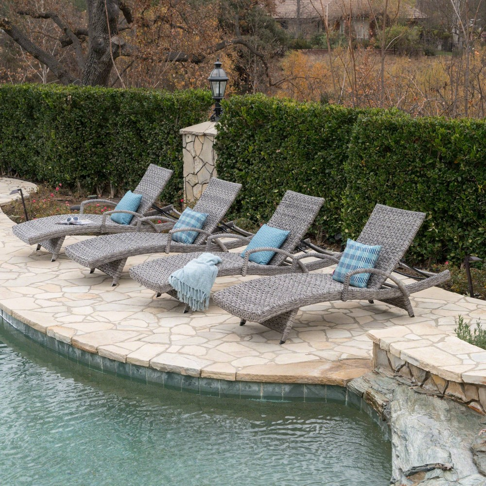 Crete 4pk Wicker Armed Chaise Lounge - Gray - Christopher Knight Home