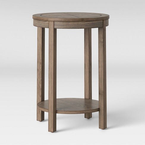 Eastford V Pattern Side Table Round Brown - Threshold™ - image 1 of 4