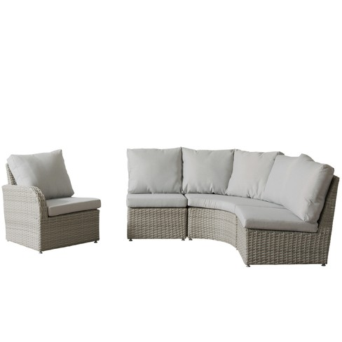 Brisbane 4pc Resin Wicker Sectional Patio Set With Weather Resistant