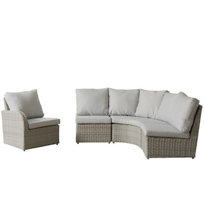 Brisbane 4pc Resin Wicker Sectional Patio Set With Weather Resistant Fabric    CorLiving