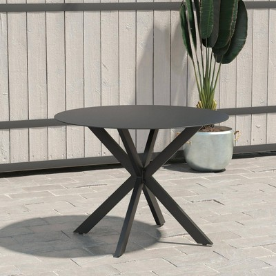 Circi Collection Round Dining Table with Glass Top - Black and Charcoal - CosmoLiving by Cosmoplitan