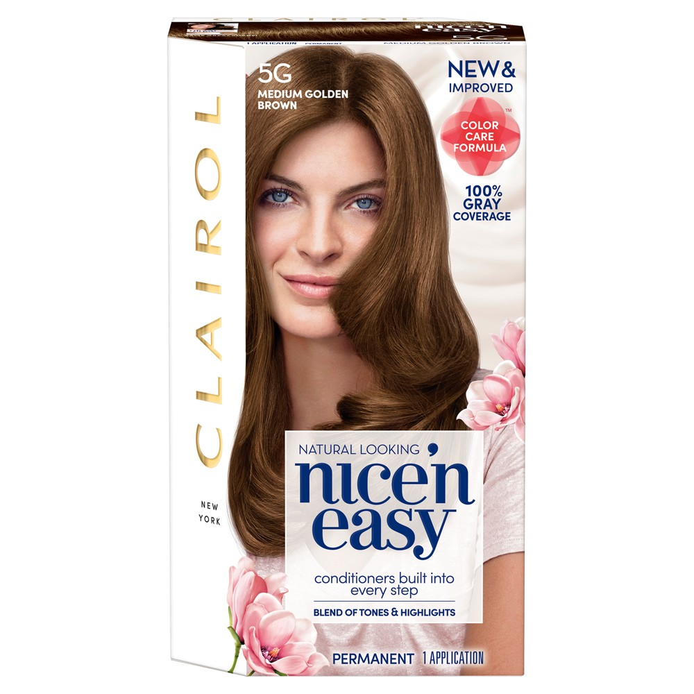 Image of Clairol Nice 'N Easy Permanent Hair Color - 5G Medium Golden Brown - 1 kit