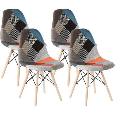 Mid-Century Modern Upholstered Plastic Multicolor Fabric Patchwork DSW Shell Dining Chair with Wooden Dowel Eiffel Legs