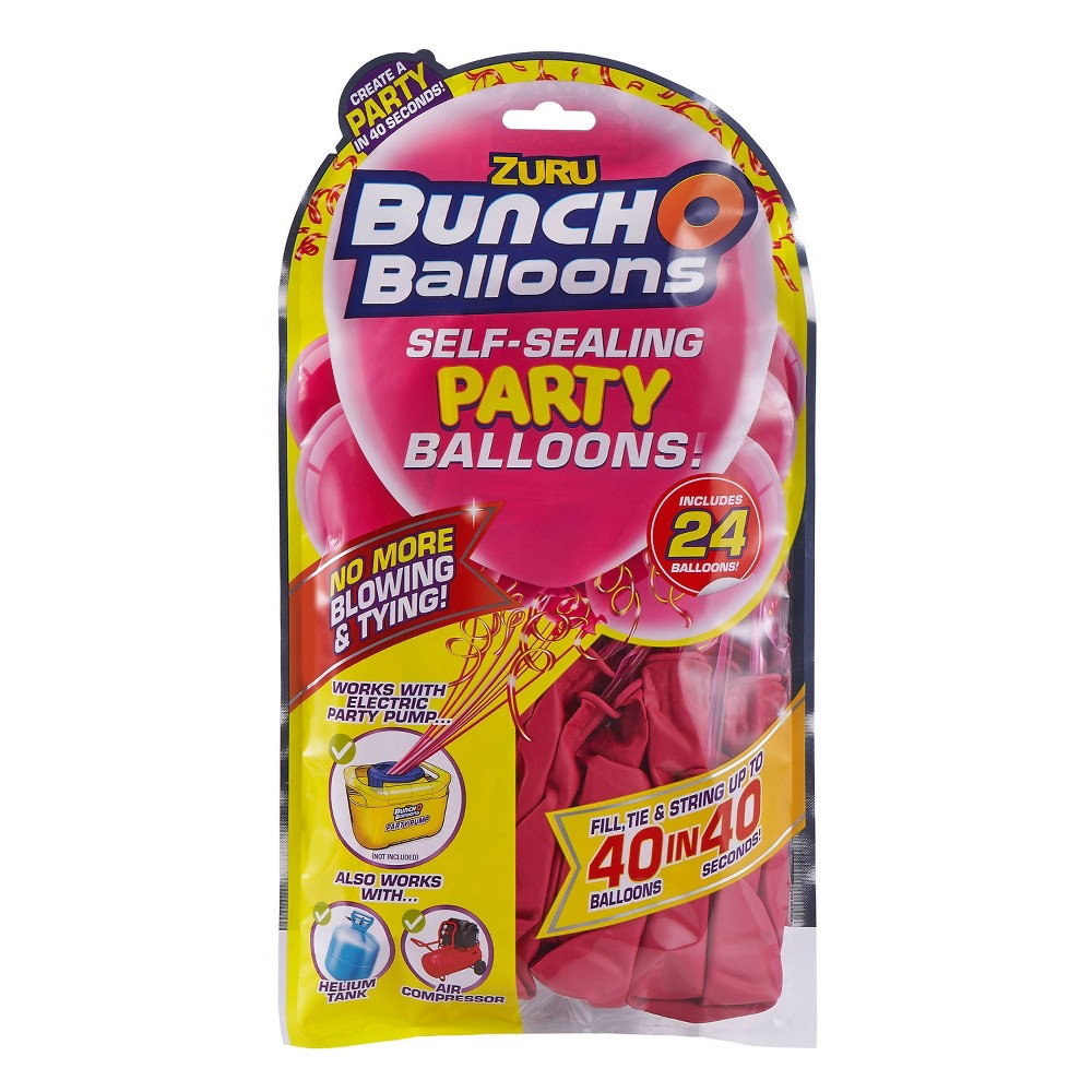 Image of 24ct Self Sealing Party Balloons Refill Pack Pink