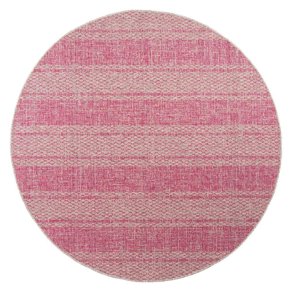 Grady Indoor/Outdoor Rug - Light Gray/Fuchsia (Light Gray/Pink) - 6'7 Round - Safavieh