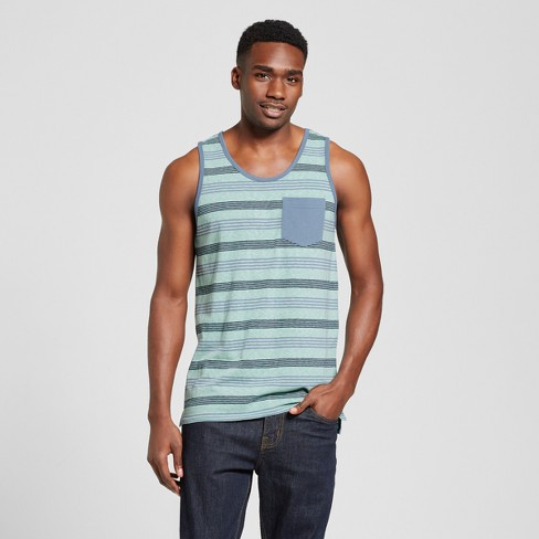 Men's Vented Hem Tank with Pocket - Mossimo Supply Co.™ Green Stripe XL - image 1 of 2