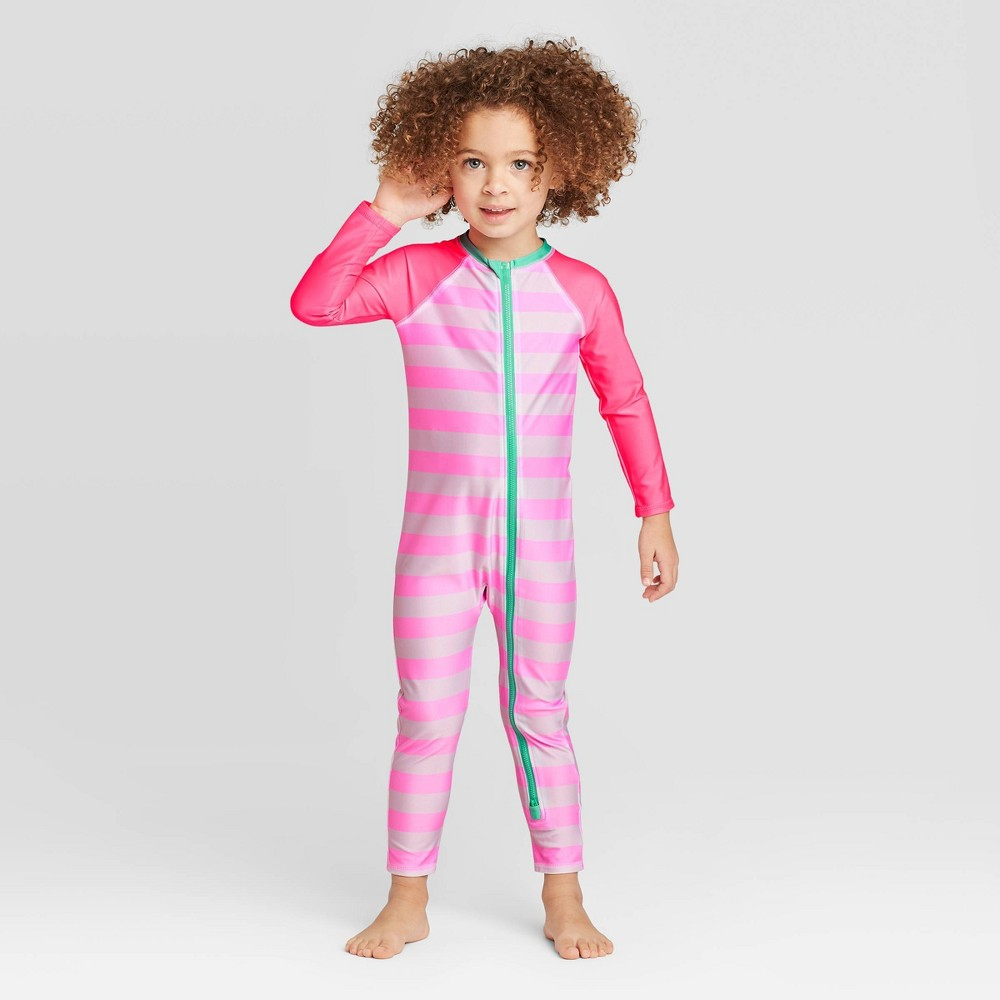 Image of Toddler Girls' 1pc Raglan Stripe Bodysuit - Cat & Jack Pink 12M, Girl's