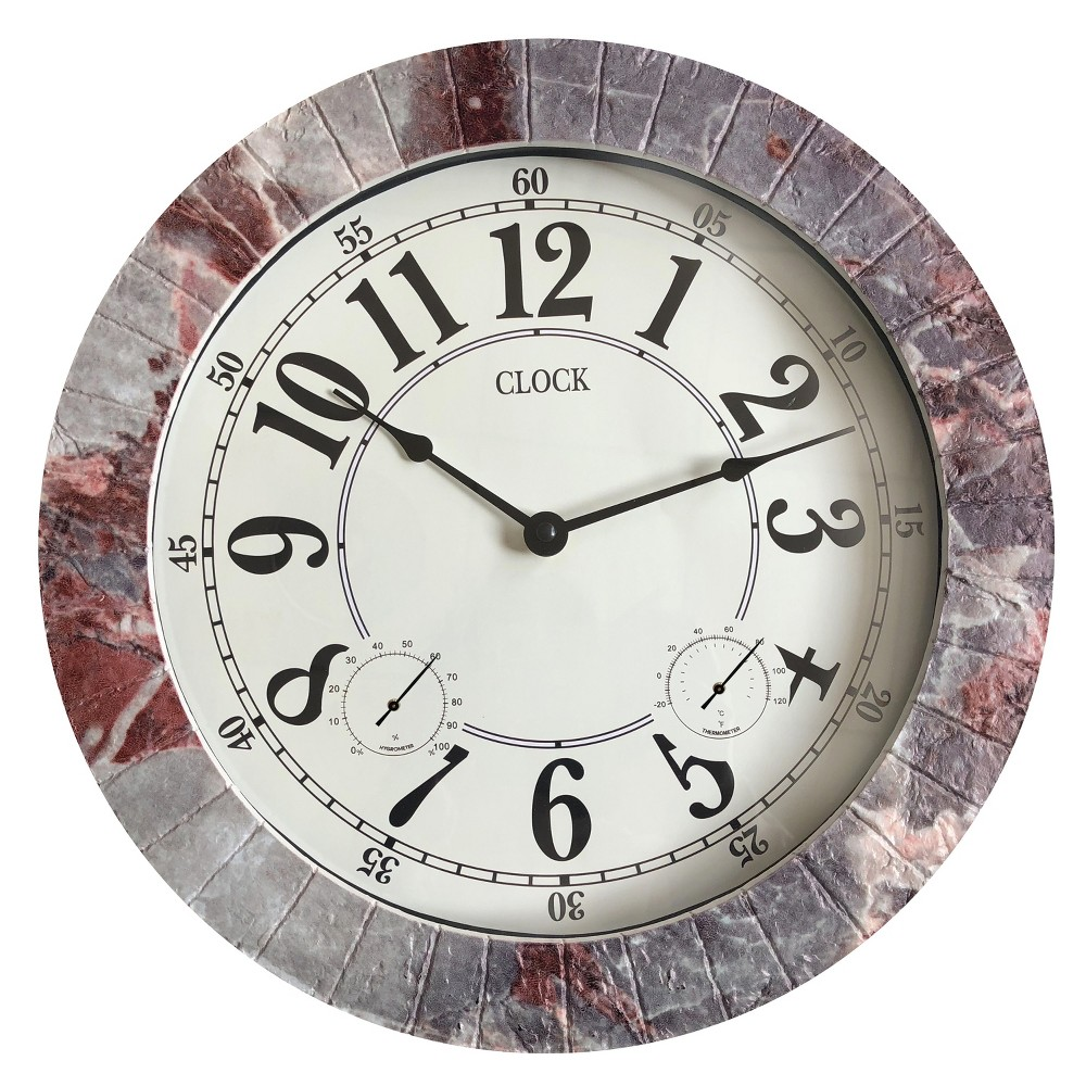 "Image of ""13.8""""H Weather Monitoring Indoor/Outdoor Decorative Stone Clock Gray - Backyard Expressions"""