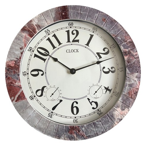 "13.8""H Weather Monitoring Indoor/Outdoor Decorative Stone Clock Gray - Backyard Expressions - image 1 of 2"