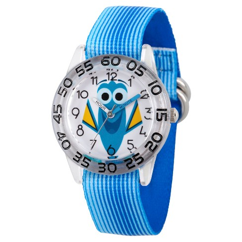 Girls' Disney Finding Dory Blue Plastic Time Teacher Watch - Blue - image 1 of 2