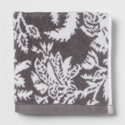 Performance Washcloth Dark Gray Floral - Threshold™