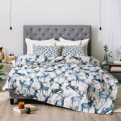 Watercolor Deers Cold Blue Comforter Set - Deny Designs