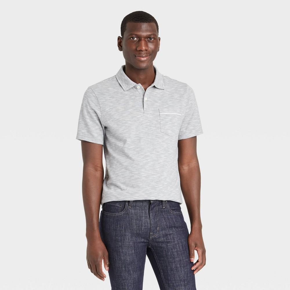 Men 39 S Striped Short Sleeve Collared Polo Jersey Shirt Goodfellow 38 Co 8482 Gray M