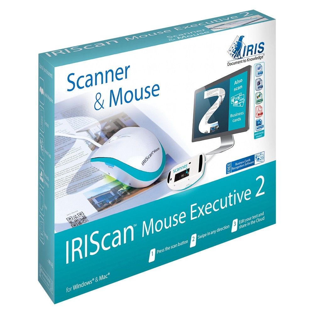 IRIScan Executive 2 Portable Scanning Mouse - White (458075) Make an easy task of scanning with the IRIScan Executive 2 Portable Scanning Mouse in White. Just click, scan and swipe for high-resolution imagines on your screen.