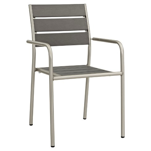 Shore Outdoor Patio Aluminum Dining Chair in Silver Gray - Modway - image 1 of 4