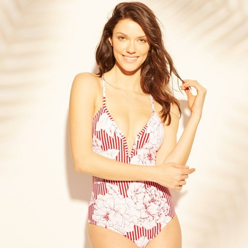 Women's V-Wire One Piece Swimsuit - Kona Sol™ Red/White Stripe - image 1 of 2