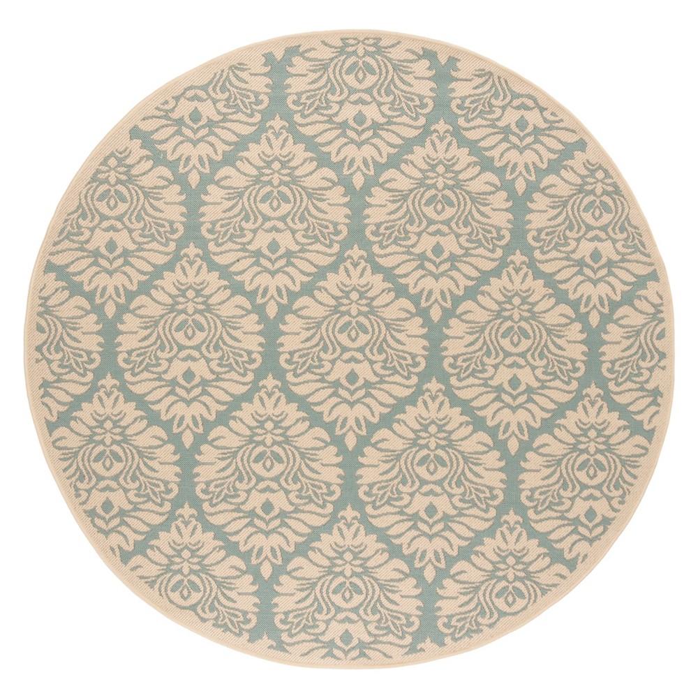 6'7 Damask Loomed Round Area Rug Aqua/Cream (Blue/Ivory) - Safavieh