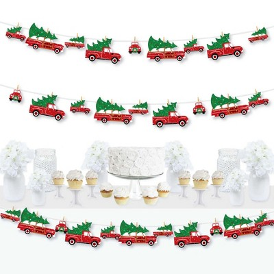 Big Dot of Happiness Merry Little Christmas Tree - Red Truck and Car Christmas Party DIY Decorations - Clothespin Garland Banner - 44 Pieces