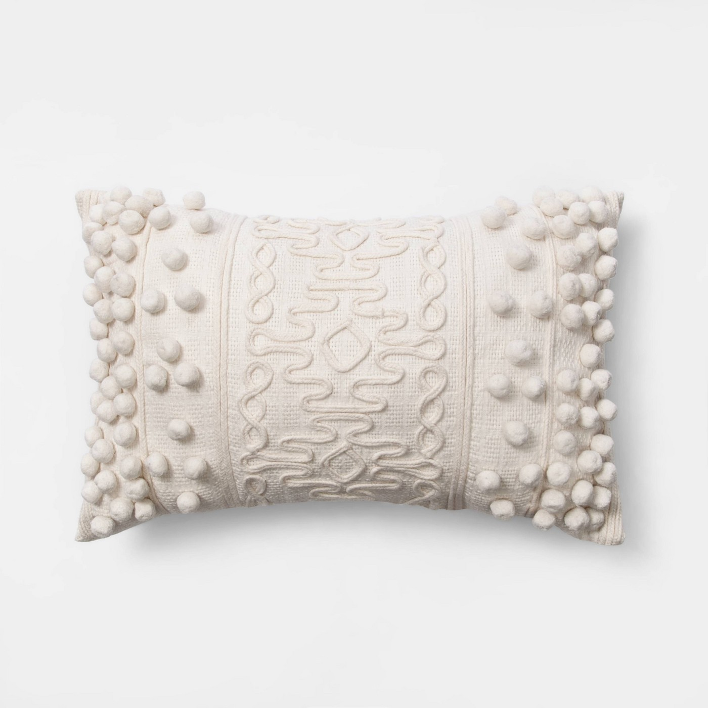 Oblong Pom Throw Pillow Cream - Opalhouse™ - image 1 of 4