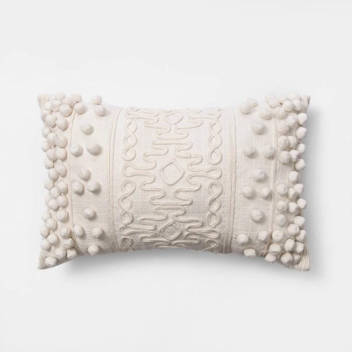 Oblong Pom Throw Pillow Cream - Opalhouse™ - image 1 of 5
