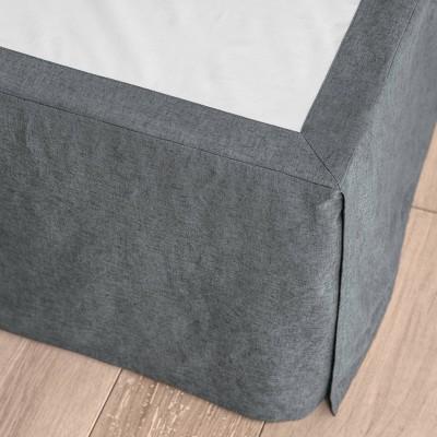 King Linen Blend Bedskirt Dark Gray - Casaluna™