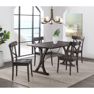 5pc Camden Folding Top Extendable Dining Table Set Dark Brown - Picket House Furnishings