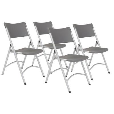 Set of 4 Premium Resin Plastic Folding Chairs Charcoal Slate - Hampton Collection