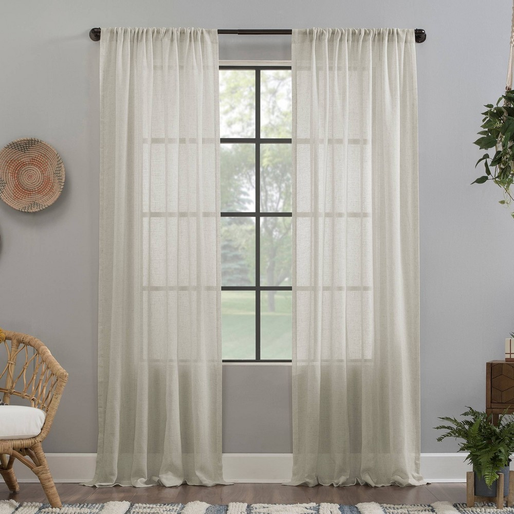 "Image of ""52""""x63"""" Crushed Texture Anti-Dust Sheer Curtain Panel Off-White - Clean Window"""
