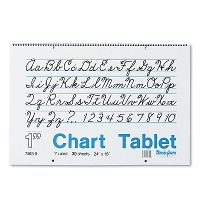 Pacon Chart Tablets w/Cursive Cover Ruled 24 x 16 White 30 Sheets 74630