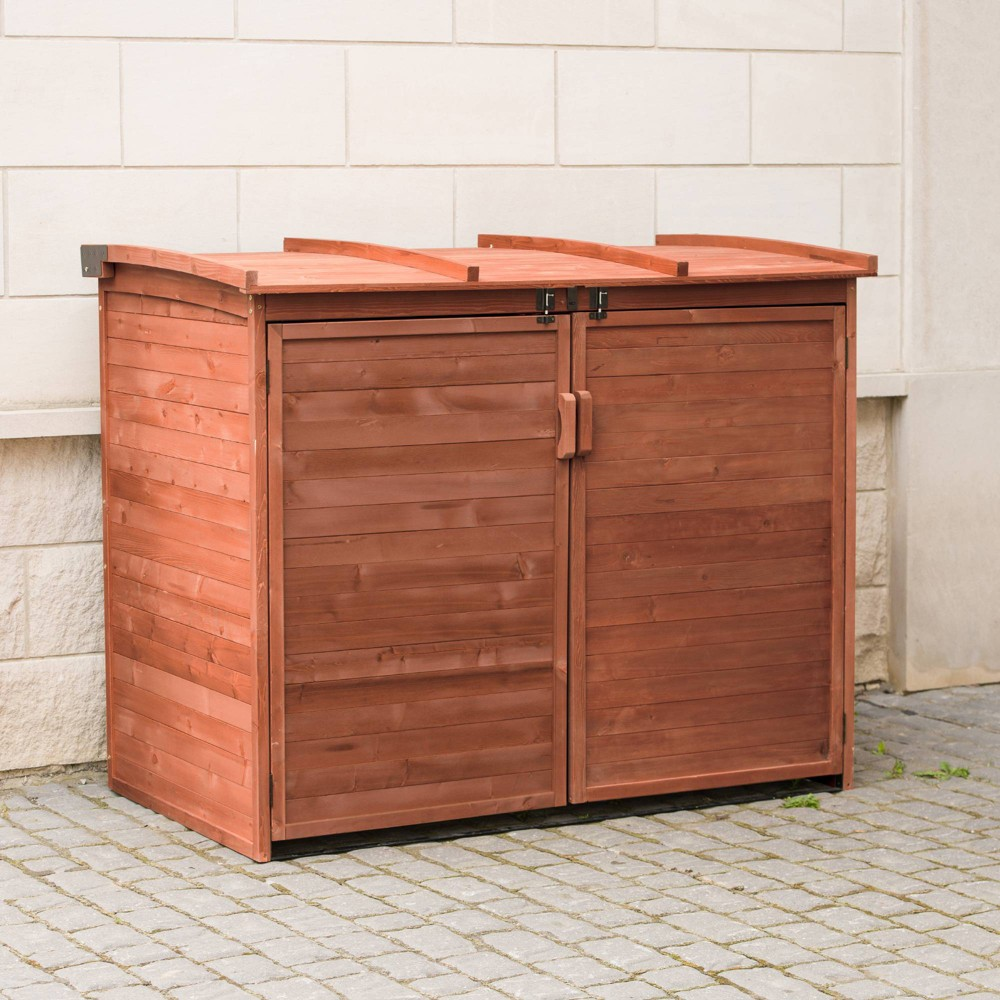 Image of Hardwood Large Horizontal Refuse Storage Shed Large - Brown - Leisure Season