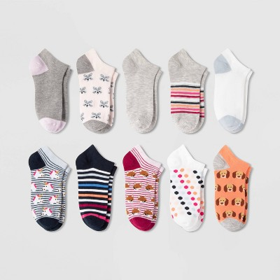 Women's Critters 10pk Low Cut Socks - Xhilaration™ Blue/Gray/Pink 4-10