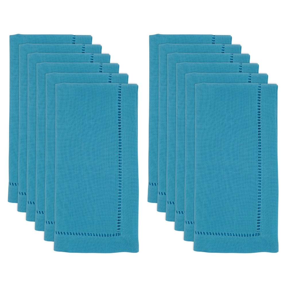"Image of ""20"""" 12pk Polyester Hemstitch Border Dinner Napkins Blue - Saro Lifestyle"""