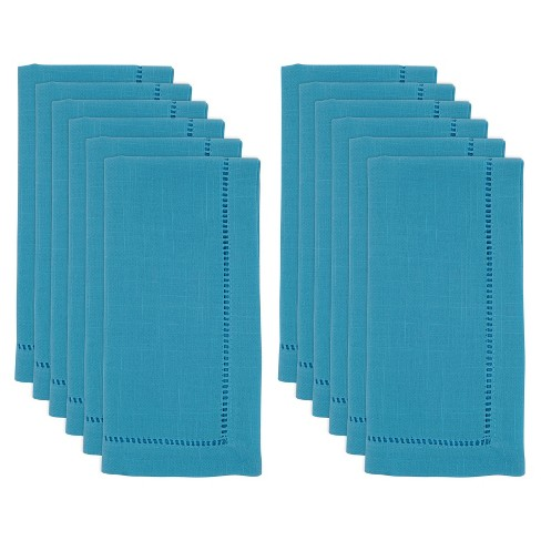 12pk Polyester Hemstitch Border Dinner Napkins Blue - Saro Lifestyle  - image 1 of 4