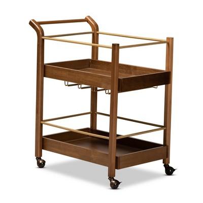 2 Tier Tahir Metal Mobile Bar Cart Brow/Gold - Baxton Studio