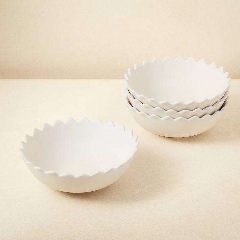 23oz 4pk Stoneware Pointed Sun Salad Bowls White - Opalhouse™ designed with Jungalow™ - image 1 of 4