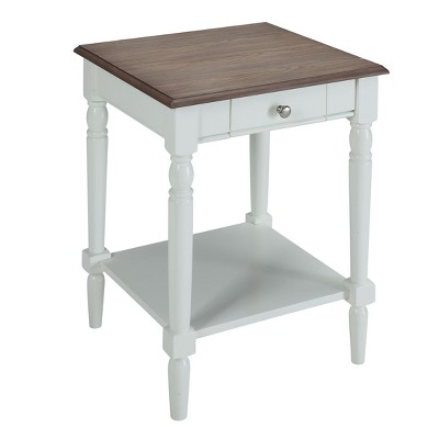 French Country End Table with Drawer/Shelf Driftwood/White - Breighton Home
