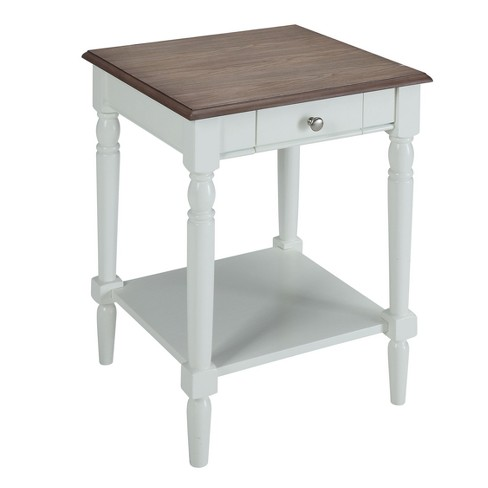 French Country End Table With Drawer And Shelf Driftwood White Johar Furniture