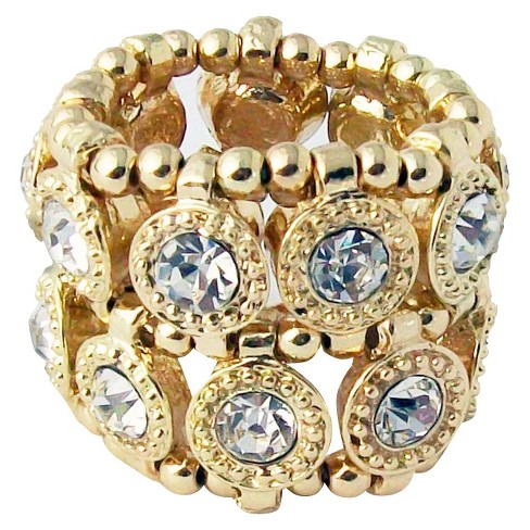 Zirconite Stretch Ring with Crystals - Gold - image 1 of 1