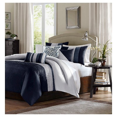 Salem 6 Piece Duvet Cover Set- Navy (F/Q)