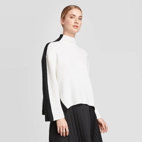 Women's Mock Turtleneck Pullover - Prologue™ White/Black XXL - image 1 of 3