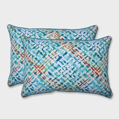 2pk Oversize Capiz Opal Rectangular Throw Pillows Blue - Pillow Perfect - image 1 of 1