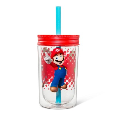 Super Mario 12.5oz Plastic Three Player Power Kids Tumbler