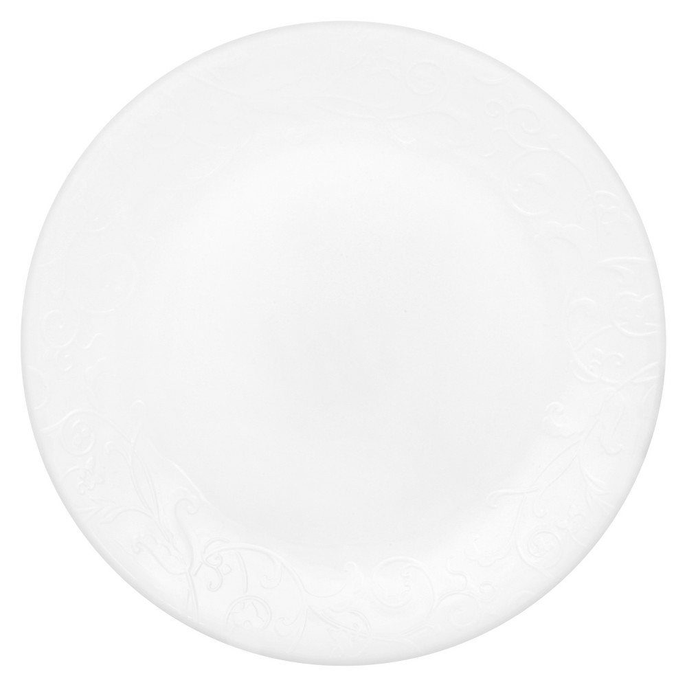 Lunch Plate Embossed Faenza 8.5x8.5 White- Corelle, White