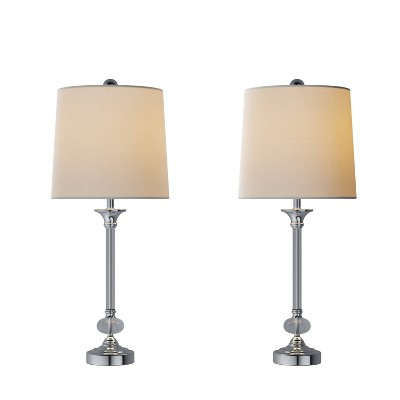 Crystal Lamps-Set of 2 Faceted Silver Lighting (Includes LED Light Bulb)