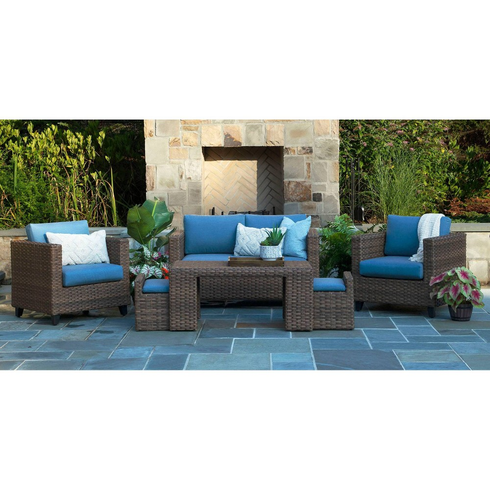 Image of Pepperidge 6pc Deep Seating Set with Sunbrella Fabric Blue - Canopy Home and Garden
